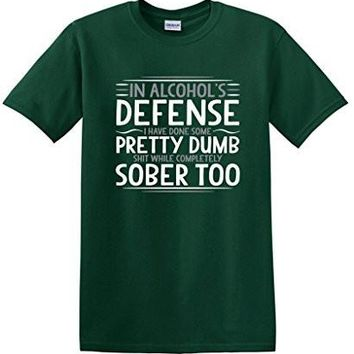 In Alcohol's Defense Mens Party Drinking College Funny T Shirt