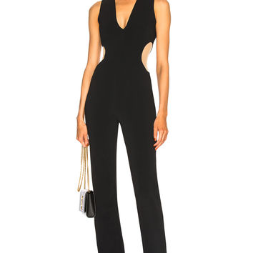 David Koma Circle Cutout V Neck Jumpsuit in Black | FWRD