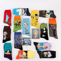 Fashion Art Cotton Crew Printed Socks Painting Character Pattern Women Men Harajuku Design Sox Calcetine Van Gogh Novelty Funny