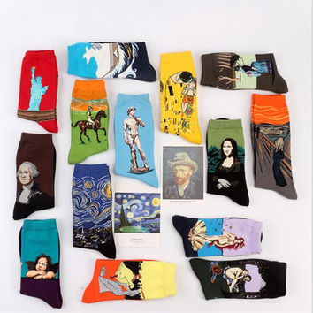 Fashion Art  Cotton Crew Socks - 21 Styles