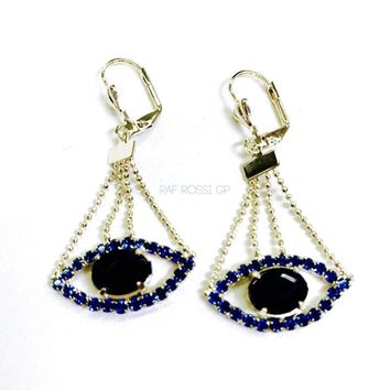 Evil Eye Cz Thread 18kts Gold Plated Earrings
