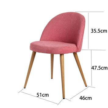 4 Pieces per set Pink/White Metal Legs Armless Chair Dining Chair Side Chair Home Furniture