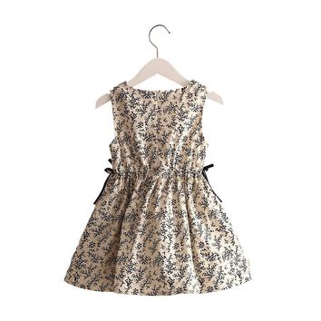 Mudkingdom Baby Girl Summer Small Floral Sleeveless Dress Waist Detail Childrens Clothing Knee-length Bohemian Cute Design