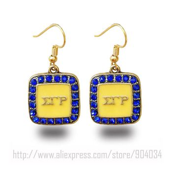 Sigma Gamma Rho square figure  charm Sigma Gamma Rho Sorority yellow with blue  earring Jewelry