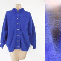 Vintage 80s Angora Sweater | 1980s Angora Cardigan Sweater | Royal Blue Plush Angora | Fuzzy Sweater | Venesha Angora | Oversized | Sz Large