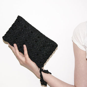 Pure Black Beaded Rectangular Crochet Clutch