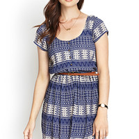 Buttoned Tribal Print Dress