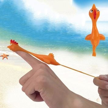 11.5CM Novelty Gags & Practical Joke Toys Funny Laugh Rubber Chicken Stretchy Flying Turkey Finger Birds Sticky Random Color