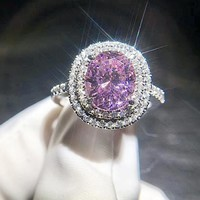 5 Ct Pink Oval Engagement Ring, Victorian ring, Double Halo Ring, Promise Rings , Art Deco Vintage Style Ring, Man Made Pink Sapphire Ring
