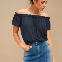 Portrait Painter Navy Blue Off-the-Shoulder Top