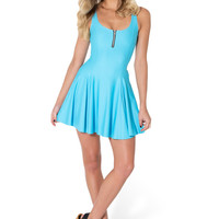 Matte Light Blue Evil Zip Dress