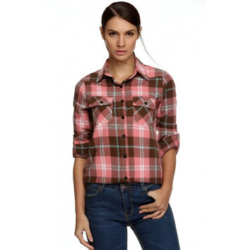 Stylish Ladies Women Casual Long Sleeve Lapel Plaid Check Print Button Shirt Blouse Top