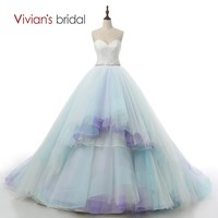Sexy New Arrival Colorful Blue And White Wedding Dresses Ball Gown Bridal Gown Sweetheart High Quality JR02
