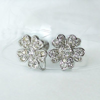 Vintage Keyes Earrings Flower Floral signed Clear Rhinestones Silver Tone