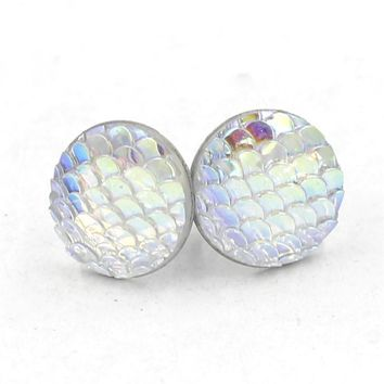 Newest Colorful Stainless Steel Earring 12MM Resin Smooth Fish Dragon Scale Stud Earrings Round For Women Party Gifts