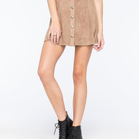 FULL TILT Button Front Suede Womens Skater Skirt | Outdoor Wanderlust