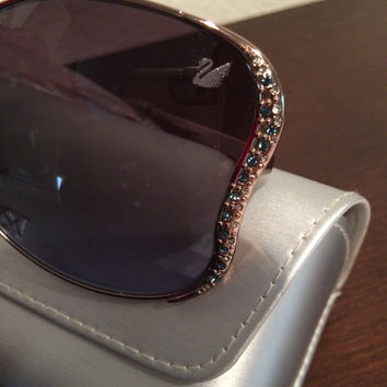 Pave Crystal Wing Detail Sunglasses (Swarovski)