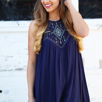 Feel The Beat Navy Embroidered Dress