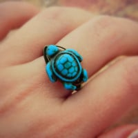 Turtle Ring. Turquoise Ring. To Order - Blue, Aqua, Ocean, Sea, Brown, Bronce, Dark, Fall, Simple, Animal, Jewelry Rings, Turquoise Jewelry