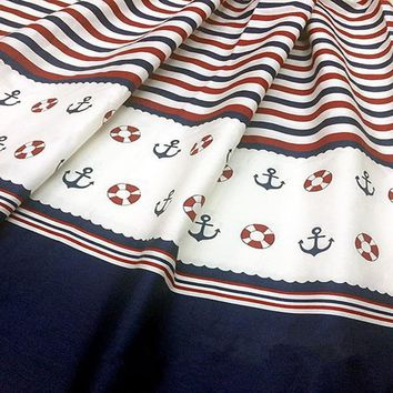 Classic Navy Blue Anchor & Blue Stripe Printed Cotton Fabric, 50x160cm, Bedding  Clothing Quilting Bedding DIY fabric