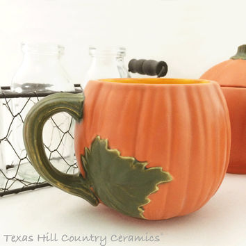 Pumpkin Shape Cup or Mug Orange Lead Free Glaze Ceramic Earthenware Functional & Decorative Halloween or Fall Autumn Decor