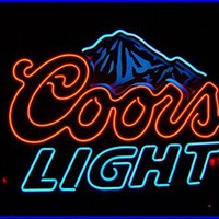 Blue Coors LIght Beer Neon Signs, 17(w) x 14(h) inch Neon Lights made with Real Glass Tube, Beautiful Decoration as Bar Signs