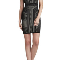 BCBG Stefanie Geometric Relief Jacquard Dress