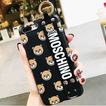 MOSCHINO Fashionable Couple Cute Teddy Bear Soft Mobile Phone Cover Case For iphone 6 6s 6plus 6s-plus 7 7plus 8 8plus X XSMax XR Black