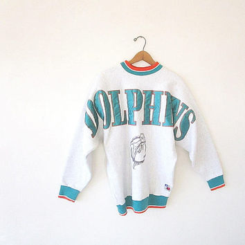 Vintage 90's MIAMI DOLPHINS Football Embroidered Heavyweight Sportswear Sweatshirt Sz L