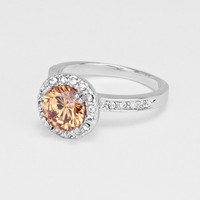 Gold Round Cubic Zirconia Ring
