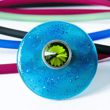 ring, disc - resin, pvc ring, blue green sparkling, disc, plastic