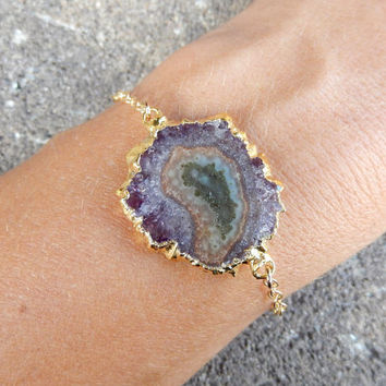Stalactite Slice Bracelet 14K Gold Amethyst Purple Green Brown Freeform Gold Filled Chain Crystal Quartz Agate Boho - Free Shipping Jewelry