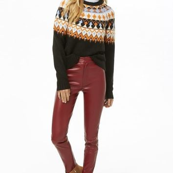 Fair Isle Brushed Knit Sweater