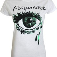 Paramore Crying Eye Ladies White T-Shirt - Offical Band Merch - Buy Online at Grindstore.com