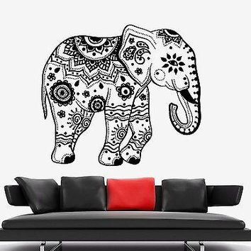 Wall Vinyl Elephant Flower Tribal Ornament Mural Vinyl Decal Unique Gift (z3365)
