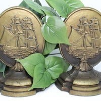 Antique Bradley Hubbard Nautical Ship Oval Cast Iron Bookends Set of 2