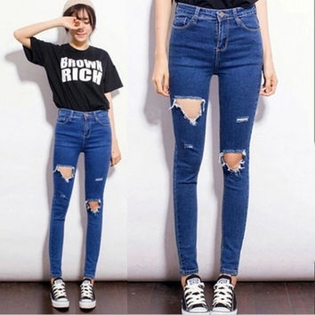 Skinny Pencil Pants Girls Denim Ripped Boyfriend Jeans With Holes For Women Girls High Waist Plus Size Jeans SM6