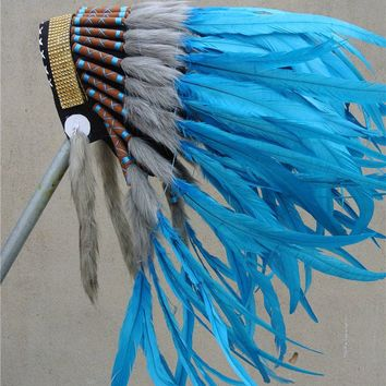 TURQUOISE indian feather headdress indian war bonnet american costumes decor