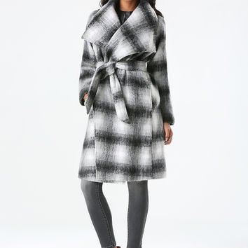 bebe Womens Plaid Belted Wrap Coat Multi