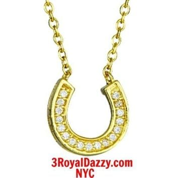 14k Yellow Gold layer on Solid 925 Silver Crystal CZ Horseshoe Pendant Necklace