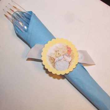 Peter Rabbit Theme Baby Shower Ribbon Napkin Rings (12) Custom Made to Match Your Party Any Theme Baby Shower