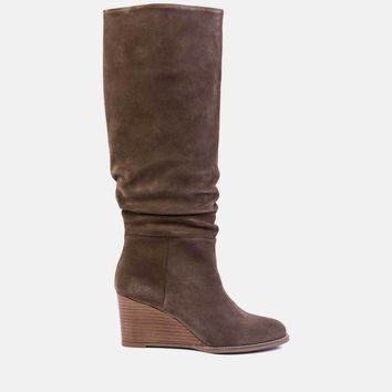 Saffi Suede Tall Shaft Boot (Taupe Suede)