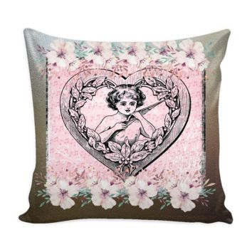 Vintage Home decor throw pillow cover floral valentines day cupid