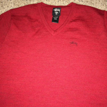 Sale!! Vintage STUSSY casual red Sweaters street wear sweat shirt tee