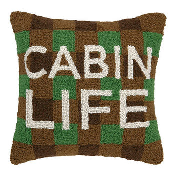 Cabin Life Plaid Pillow 16X16""
