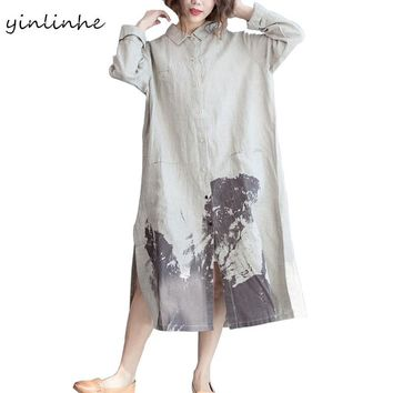 yinlinhe New Arrival Summer Brief Cotton And Linen Shirts Women Blouse Long Sleeve Ink Painting Female Tunic Plus Size 2017 212