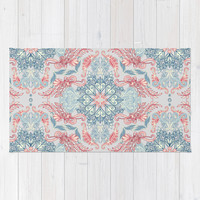 Vintage Fancy - a Pattern in Pale Blue, Navy & Deep Rose Rug by Micklyn