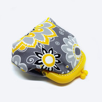 Fabric Coin Purse - Yellow Plastic Frame