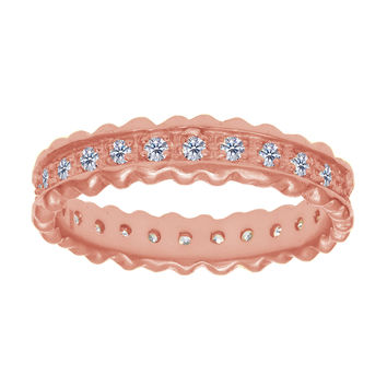 Sterling Silver With Rose Finish Ridged Edge White Cubic Zirconia Eternity Band Ring - 4mm Width