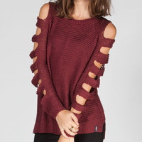 Lira Alice Womens Cutout Sleeve Sweater Maroon  In Sizes